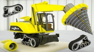 Monster Machine Drill Excavator Learn Colors. Street Vehicle Assembly Correct parts for Kids
