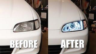 EG Civic Hatch mini H1 Bi-Xenon Projector, HID, and DRL Retrofit Tutorial