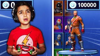 DELETING MY 5 YEAR OLD LITTLE BROTHERS V-BUCKS & THEN BUYING HIM 100,000 NEW V-BUCKS IN FORTNITE!