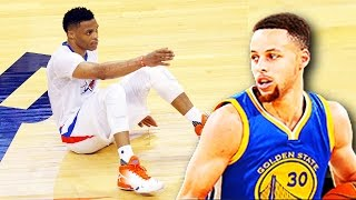 Stephen Curry Drops Russell Westbrook! Stephen Curry Ankle Breaks Russell Westbrook