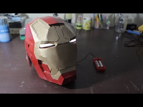 DIY Cardboard Iron Man Helmet with LED eyes