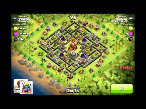 Clash of Clans [Demonstration] DTP Defenses v. Mass Hogs ft. Exodias & Violent Sky