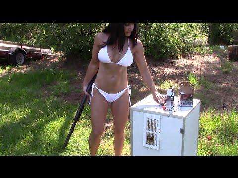 49 year old Farm Girl Shooting the Remington 870 Express Magnum 12 gauge shotgun in her bikini