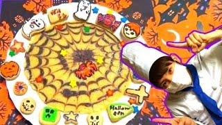 【ハロウィン】蜘蛛の巣ホットケーキを作ってみた【赤髪のとも】How to make the hot cake of a cobweb