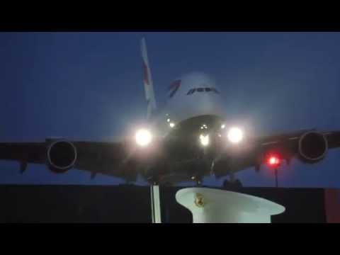 British Airways Airbus A380-800 [G-XLEE] landing in LAX