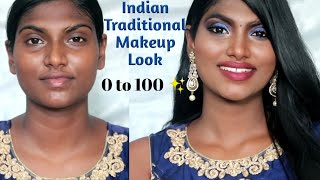 Traditional Makeup Look for Beginners | Step by step Tutorial |தமிழில் | Stylish Tamizhachi
