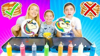 PANCAKE ART CHALLENGE 3 !!! - Mère VS Fils : Licorne, Pikachu, Bart Simpson ...