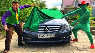 Mr. Joe on Lamborghini VS Green Man found Magic Blanket & Toy Car TURNED in Mercedes for Kids