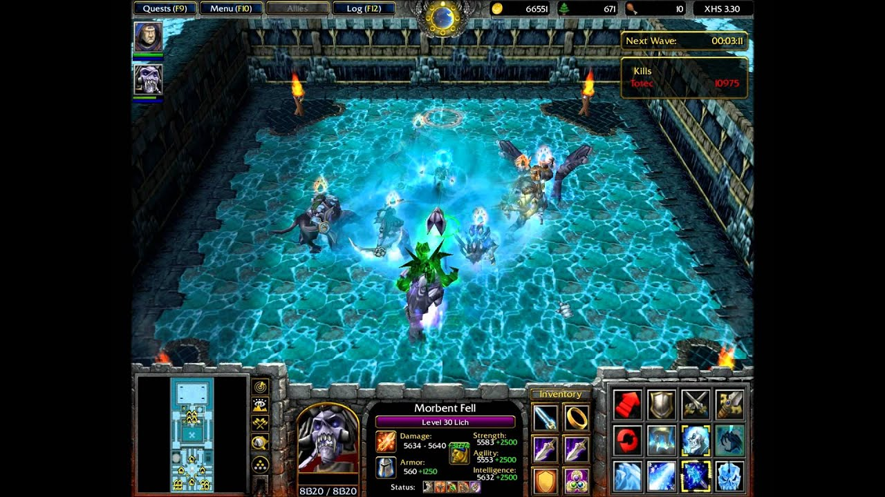 WarCraft 3 X Hero Siege Ex4 Complete Game Solo 23 HD