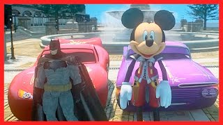 Disney Pixar Cars Lightning McQueen Superhero Movie Batman and Mickey Mouse Video for Kids