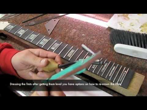 fretting a fretboard custom built guitar project luthier les paul inlays