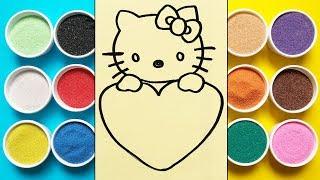 Chị Chim Xinh TÔ MÀU TRANH CÁT MÈO HELLO KITTY ÔM TRÁI TIM - Colored sand painting toys - Đồ chơi