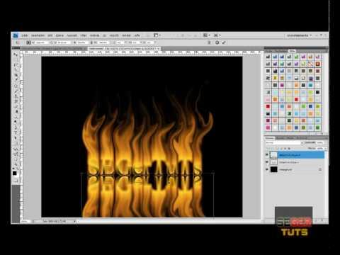 0 Feuerschrift mit Spiegelung erstellen in Photoshop cs2 bis cs5 Nr.1