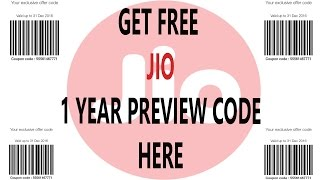 FREE 1 year Jio Preview Code Get it HERE for unlimited internet offer !