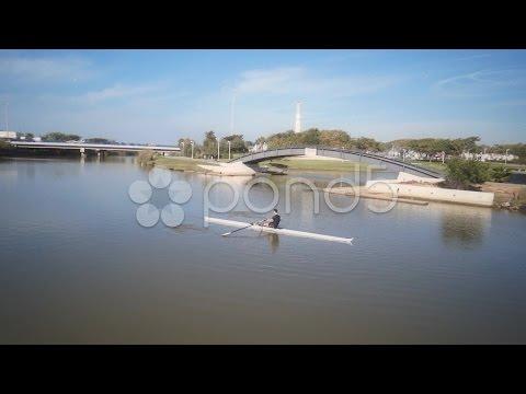 Sport extreme Kayaking in nature Yarkon River Israel. Stock Footage