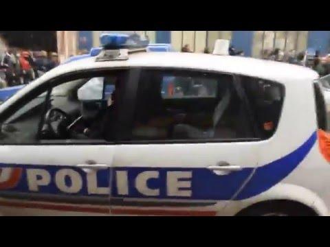 Voiture de Police brûler Manifestation qui dégénère Paris !!