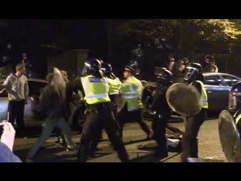 Halloween ravers clash with London riot police after illegal party shut down