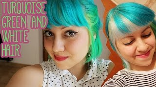 How to dye your hair Turquoise, green and white hair ( directions hair dye )