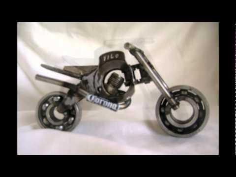 -motos de adorno artesanales- realizadas con chatarra