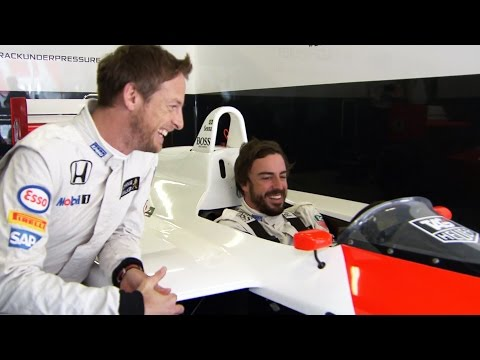 Driving the MP4/4 – Jenson and Fernando reaction