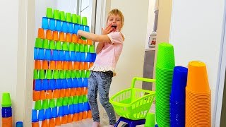 Margo and Nastya Play with colored cubes | Hide and seek with hoard Compilation video for kids