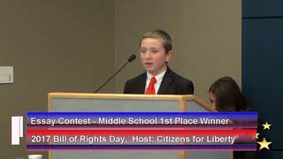 2017 Bill of Rights Day Celebration  Winner Middle School Essay Contest