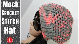 LOOM KNIT HATS - Slouchy Beanie Hat - Mock Crochet Stitch Hat Made on a 41-peg Extra Large Round