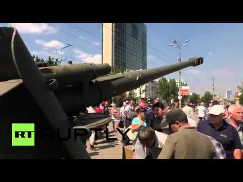 Ukraine  See captured Ukrainian military hardware paraded in Donetsk to mock Independence Day