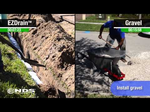 Gravel French Drain versus EZ-Drain comparison