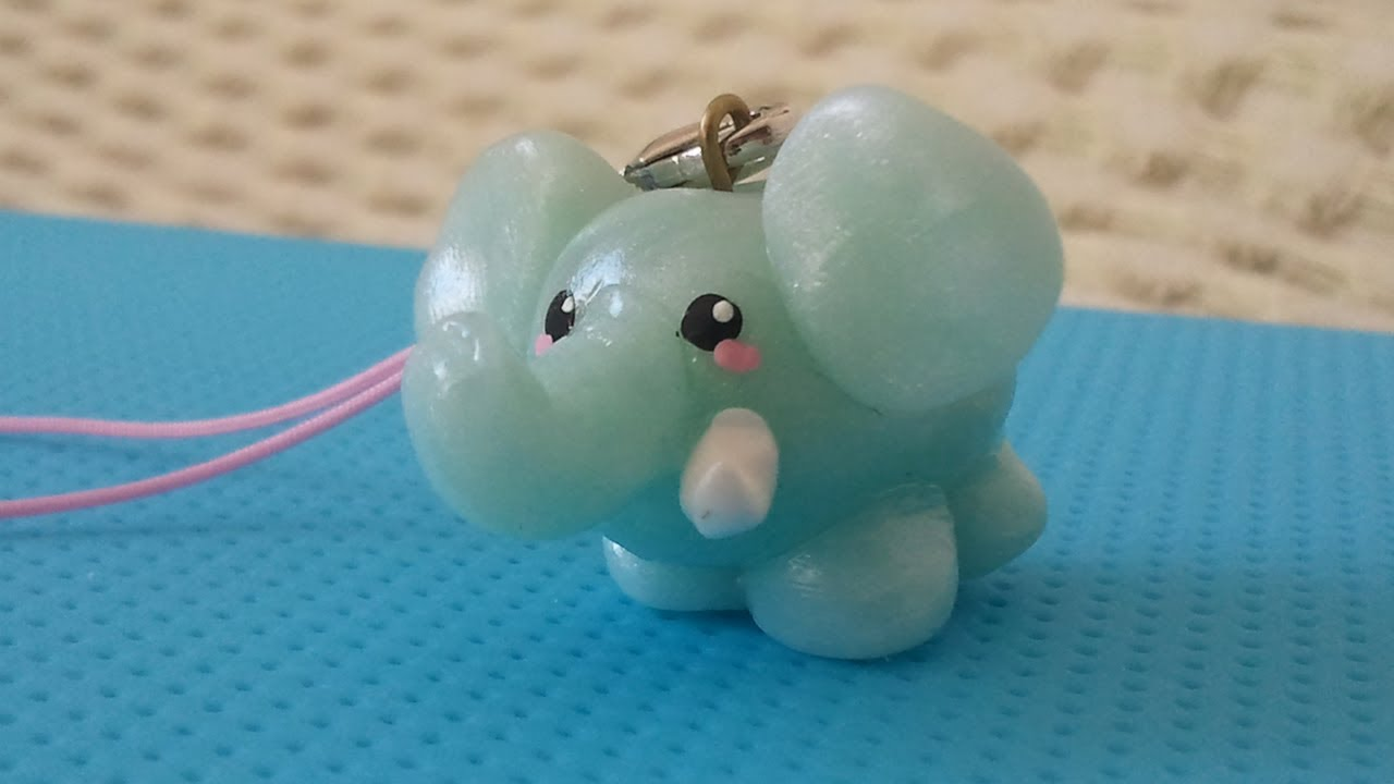 kawaii elephant charm polymer clay tutorial � youtube