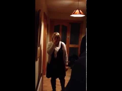 Moment son gives mum surprise Christmas present by coming home from Canada