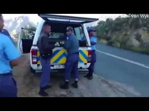 Video shows South African police pelting men with apples