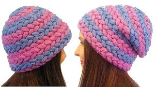 Puff stitched braid pattern hat