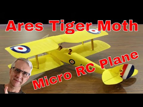 Ares Tiger Moth 75 Micro RC Airplane (crash at end!)
