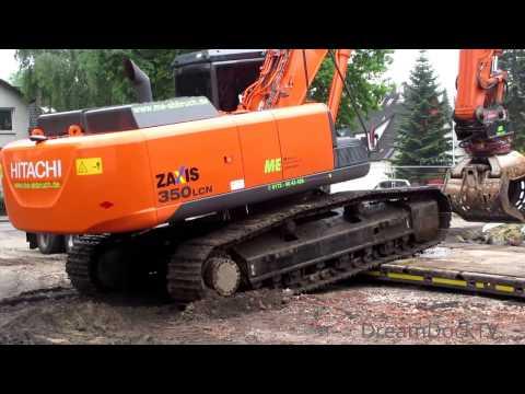 HITACHI ZAXIS 350 BAGGER VERLADUNG AUF SCHWERTRANSPORT RIEDEL