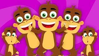 năm con khỉ nhỏ | thơ trẻ em | Bài hát khỉ | vườn ươm vần | Song For Kids | Five Little Monkeys