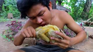 Primitive technology : Roast Chicken With Durian Fruit In Side factory food