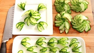 HOW TO QUICKLY CUT AND SERVE A CUCUMBER SWIRL GARNISHING