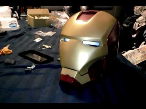 IRON MAN HELMET EYES LIGHT UP AND MOTORIZED HINGE TEST