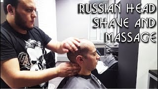 💈 Russian Barber Style - Head Shave with Head Massage and Hot Towel - ASMR intentional sounds