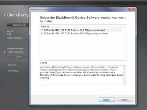 Update your BlackBerry Device Software using BlackBerry® Desktop Software