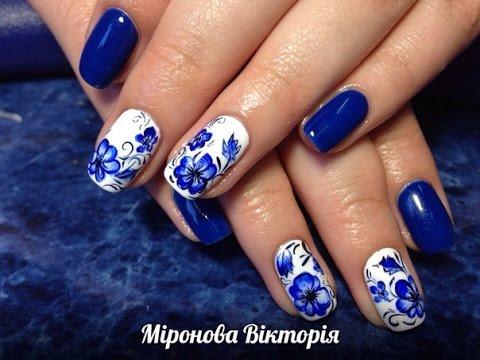 Рисунок синий на ногтях