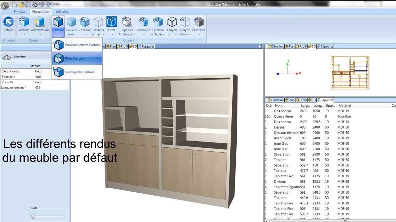 Cabinet vision 2012 en fran ais premi re partie conception et rendu 3d youtube for Conception meuble 3d en ligne