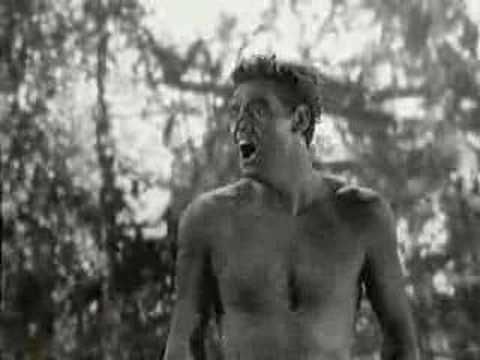 Johnny Weismuller giving his patented Tarzan yell.  Apparently this yell, and yes it really is Weismuller, was used in every Tarzan film thereafter regardless of the actor playing Tarzan.