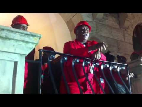 CIC Julius Malema addressing a crowd just after his suspension by parliament on 27 November 2014