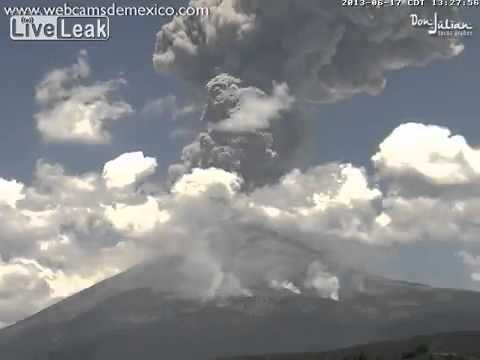 Volcano explosion and shock wave