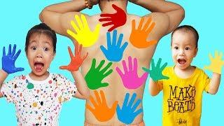 LEARN COLORS FOR CHILDREN BODY PAINT, Johny Johny Yes Papa, BaBiBum