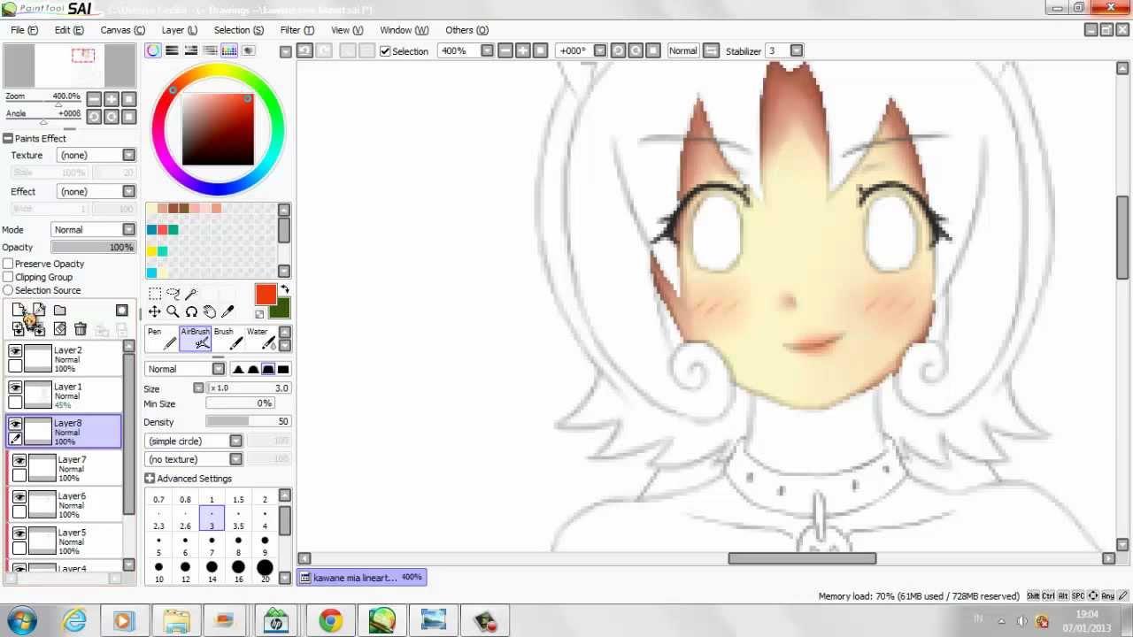 Tutorial How To Color Anime Girls Skin Paint Tool Sai