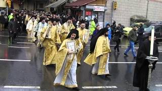 Patriarch and procession or clergy walking to the wharf