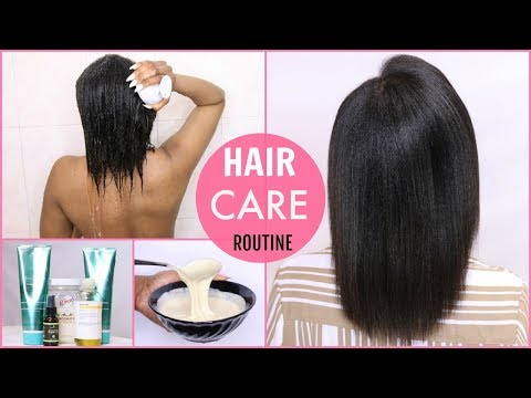 HAIR CARE ROUTINE : HOWTO GROW LONG HAIR + DEEP CONDITIONING TREATMENT FOR DAMAGED HAIR | OMABELLETV